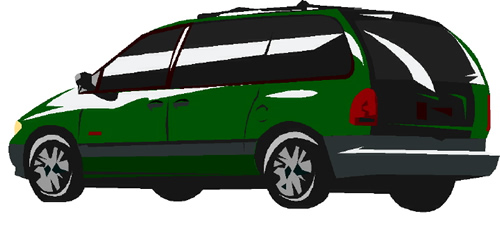 an image of a green minivan