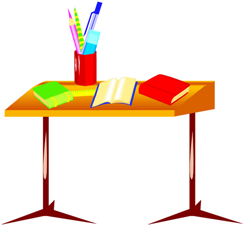 desk with books and pencils