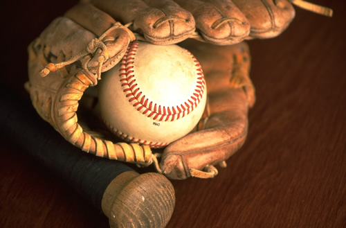 Baseball, glove & bat