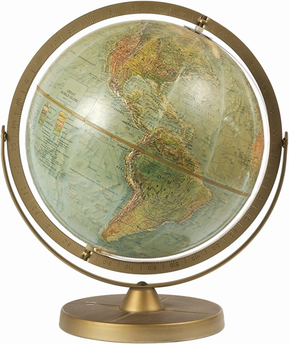 globe on a brass stand