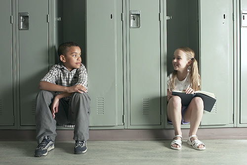 kids and lockers