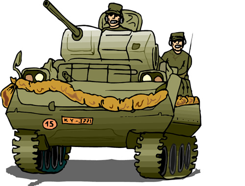 tank with soldiers