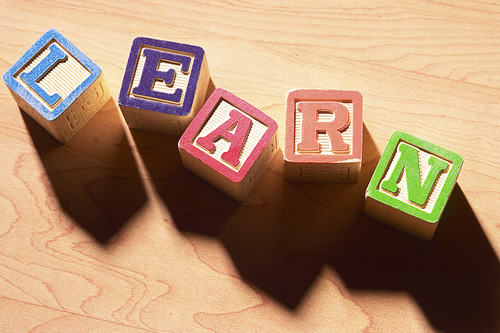 blocks that spells out learn