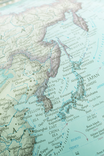 Image of globe, focusing on the beautiful island nation of Japan.