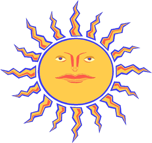 image of a yellow sun with a face