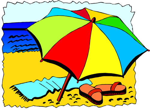 Picture of an umbrella, towel, and flip flops on a beach sand with a view of the ocean