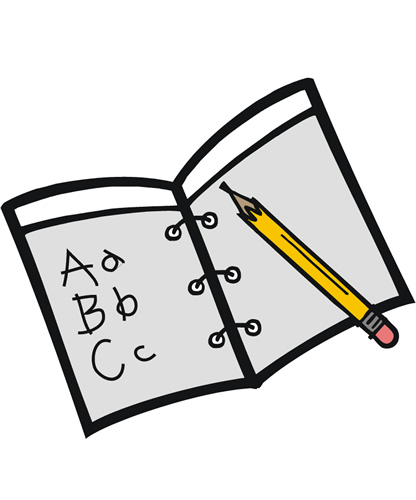clipart of a book with abcs written on a page