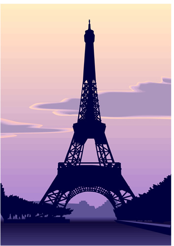 Clipart of Eiffel Tower at sunset