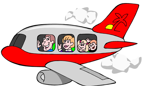 Cartoon Image of Students Riding in an Airplane