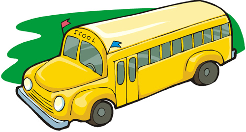 School bus with green background