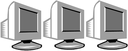 three desktop computers