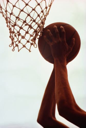image of a basketball and hoop.