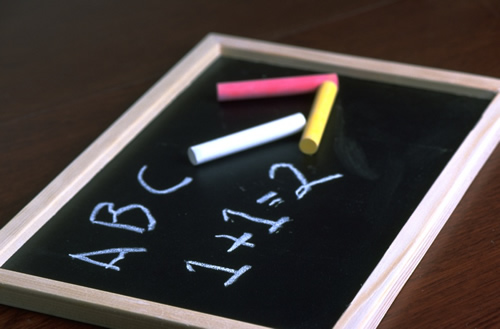 Chalkboard with ABC and 1+1=2