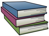 Three stacked different colored books