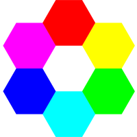 6 hexagons of different colors forming a larger hexagon