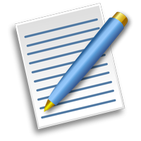Clipart of a pen laying on a piece of lined paper.