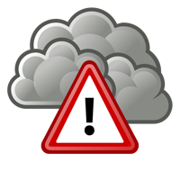 caution sign in front of cloud