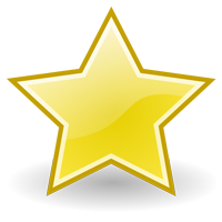 Gold five pointed star