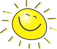 clipart of a sun with a smiley face