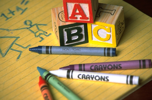 Crayons, ABC Blocks, and Notebook